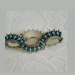Taco Sterling Silver Turquoise Linked Bracelet